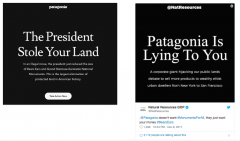 This image is a screen capture of 2 social media posts, the first responding to President Trump's executive order to reduce the size of Bears Ears and Grand Staircase Escalante National Monuments and the second responding to the first post.