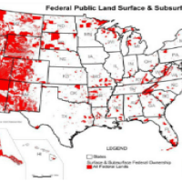 This image is a map of the United States showing in red which areas are owned, either on the surface or with regard to subsurface rights, by the federal government.