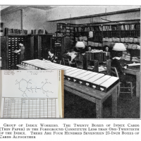 """Index workers"" in 1938, plus a paper form used to computerize molecular identity"