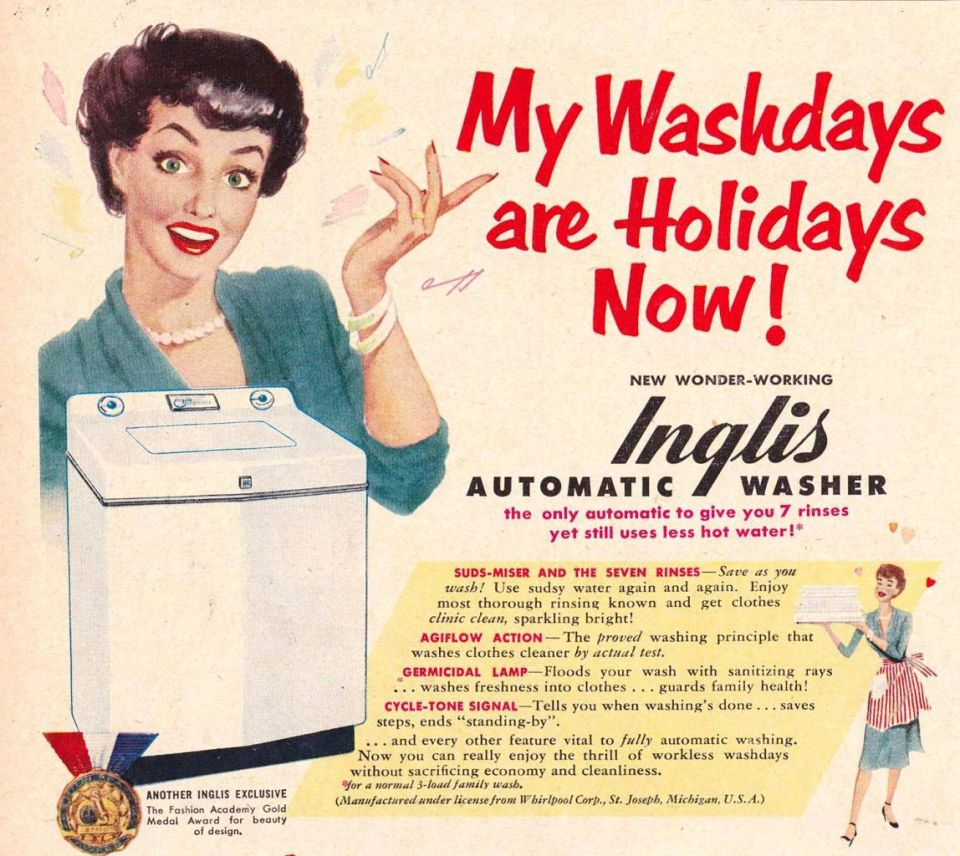Vintage ad showing woman excited about automatic washing machine that will change wash day to holiday