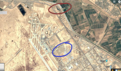 A screenshot of an aerial view of Joint Base Balad with annotated portions